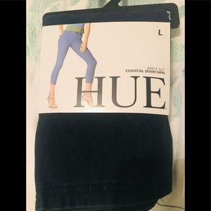 NWT👏 HUE Ankle Slit Denim Capri Leggings -Large